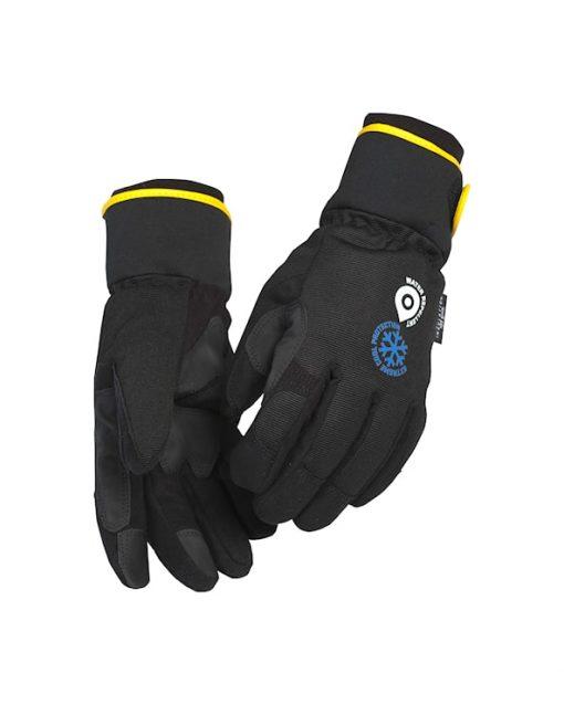 fodrade handskar blå kläder vinter
